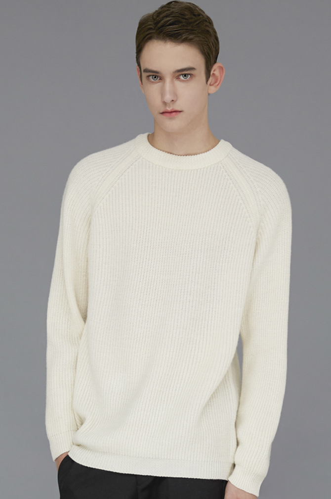 Ribbed Raglan Knit6colors제일모직WOOL100%(50% OFF)