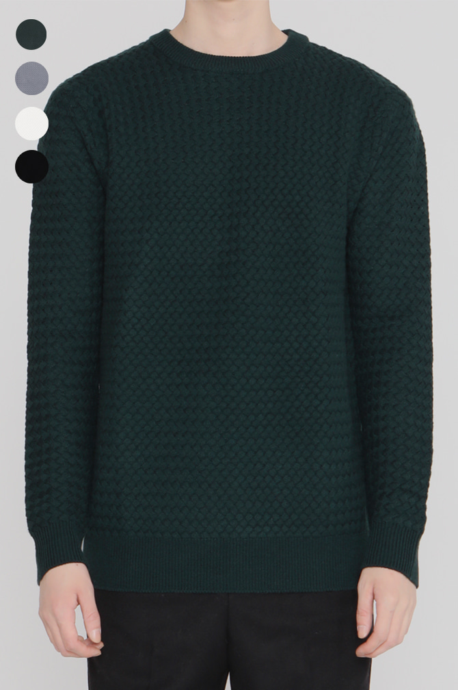 17FW Weaving Cable Knit 격자 조직의 케주얼클래식
